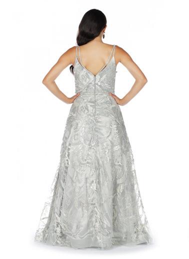 Pierre Cardin Payetli Askılı Prenses Abiye Elbise Gri